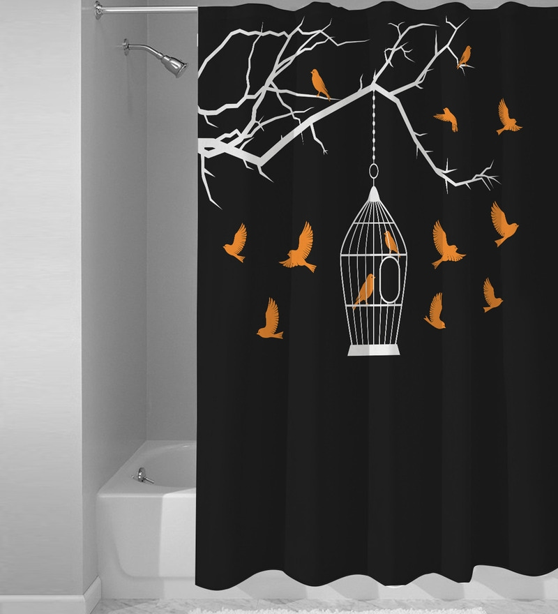 Black Polyester Shower Curtain by Right