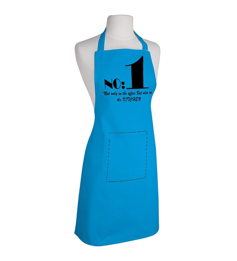 Right Blue and Black Polyester No. 1 Free Size Apron