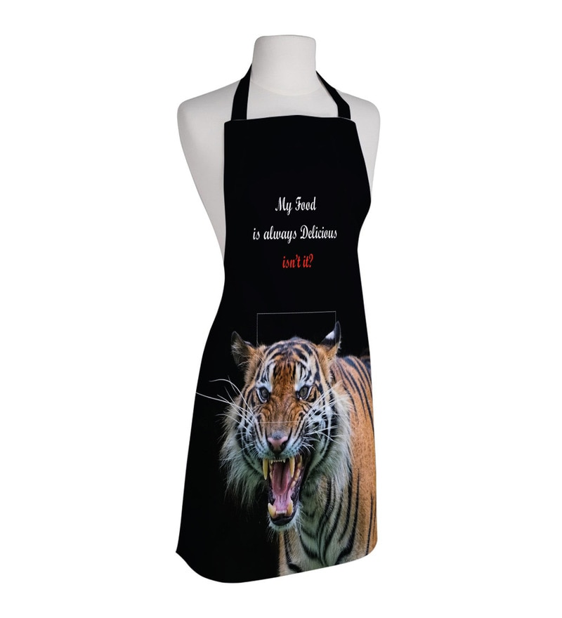 Right Tiger Print Black Polyester Free Size Apron