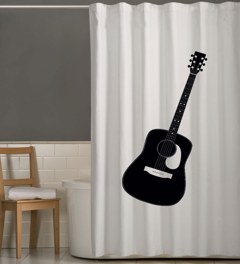 White & Black Polyester Guitar Print Shower Curtain by Right