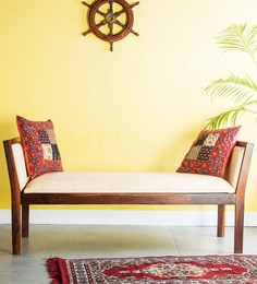 Rosendale Upholstered Bench In Provincial Teak Finish By Woodsworth