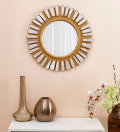 Round Teak Wood & Glass Decorative Mirror In Gold Color