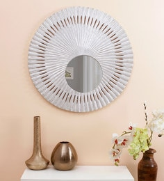 Round Teak Wood & Glass Decorative Mirror In Silver Color