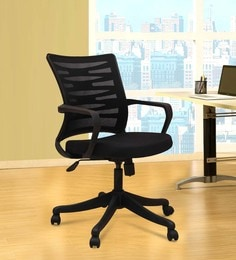 Royal Mesh Black Ergonomic Chair by Adiko Systems at pepperfry