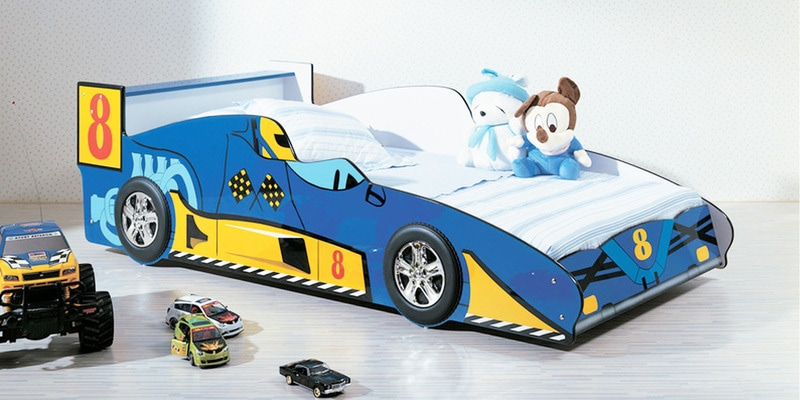 rover car kids single bed in blue colour by hometown