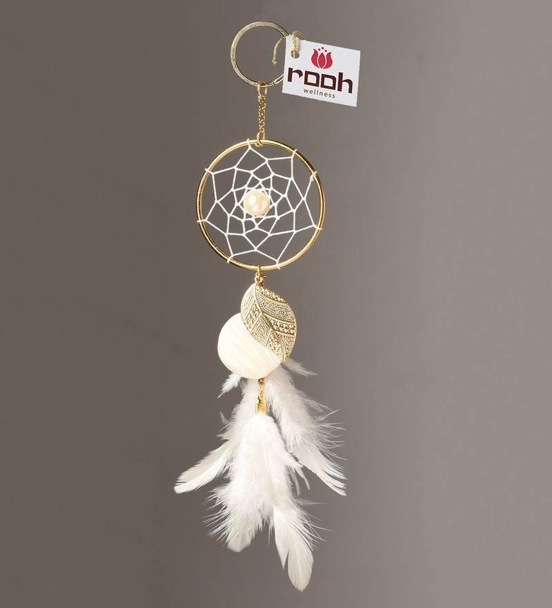 White Wool and Feather Key Chain by Rooh Dream Catchers