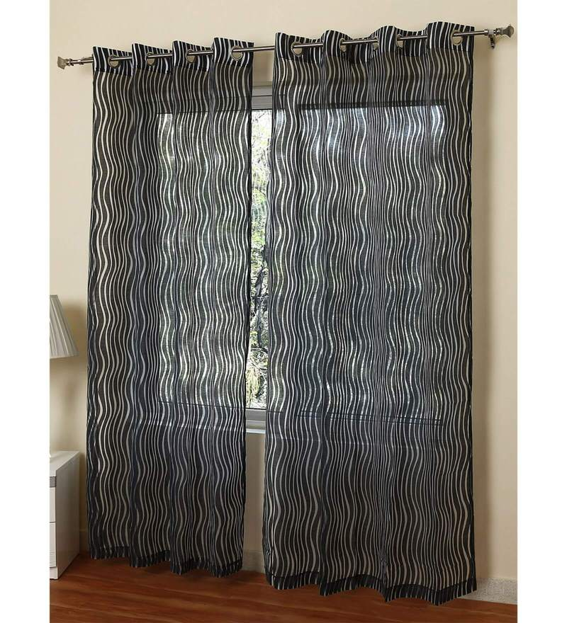 Black Polycotton 55 X 84 Inch Oslo Geometrical Sheer Door Curtain By Rosara