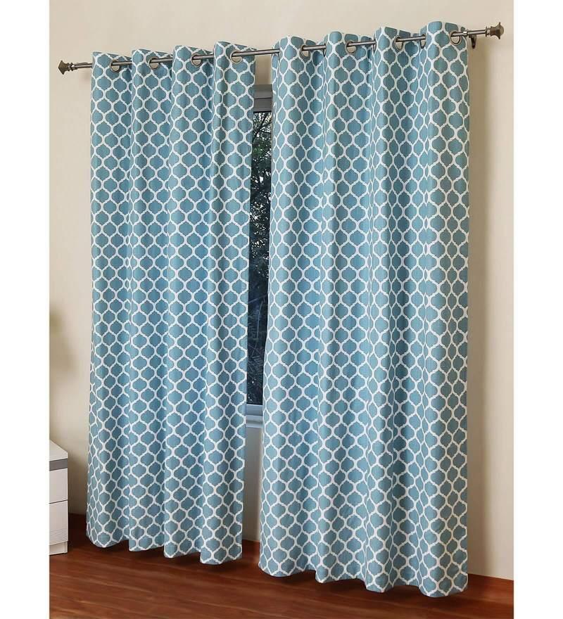 Blue Cotton 55 x 84 Inch Laurel Geometrical Linen Look Door Curtain by Rosara