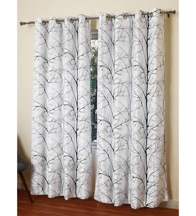 White Polyester 55 x 84 Inch Daintree Printed Door Curtain by Rosara