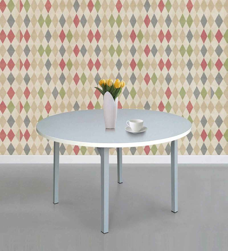 Round Dining Table in White Colour by FurnitureKraft