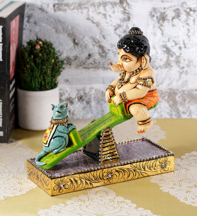 Multicolour Resin Lord Ganesha Playing See - Saw with Mouse by Rural Craft
