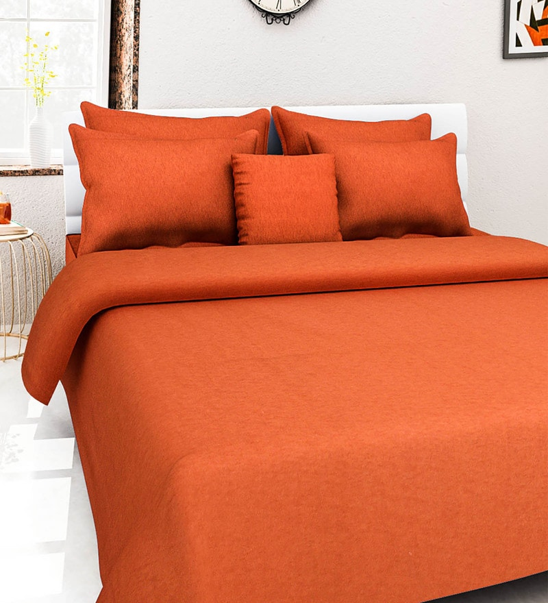 Rust 100% Cotton Queen Size Bed Cover - Set of 5 by Soumya