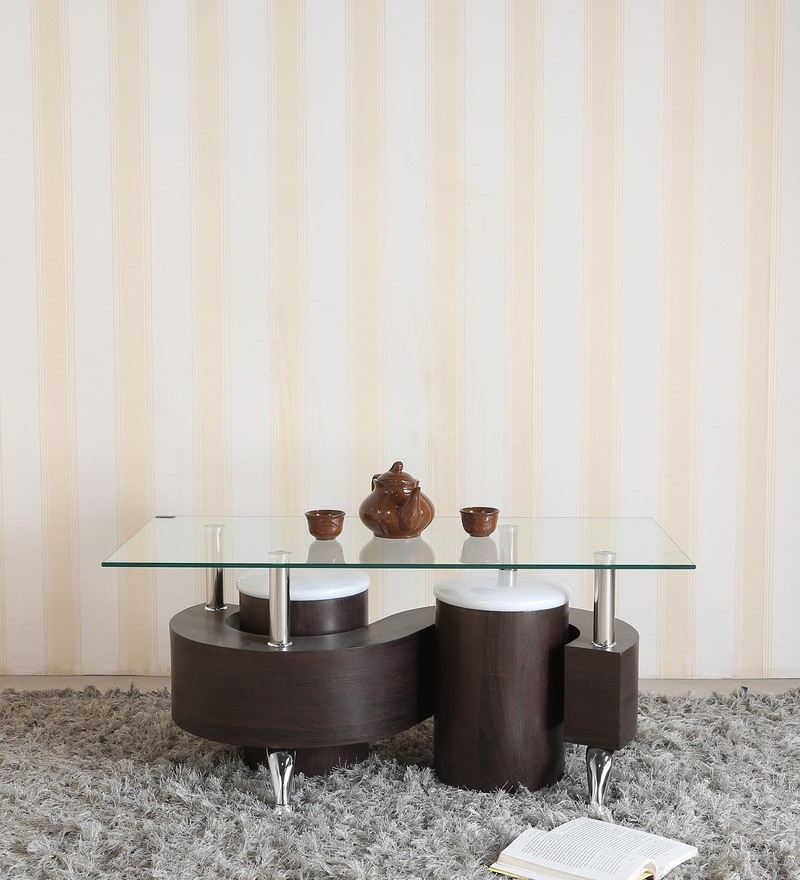 S Shape Center Table with Two Pouffes by Parin