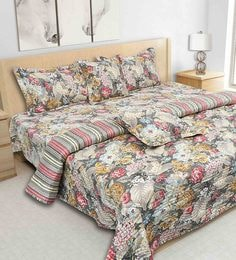 S9Home By Seasons Coal 100% Cotton 108 X 108 Inch Printed Bedding Set