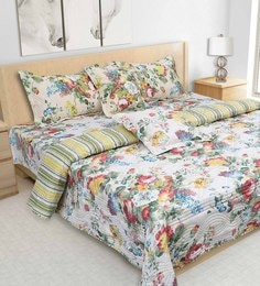S9Home By Seasons Multicolour 100% Cotton 108 X 108 Inch Printed Bedding Set - 1603089