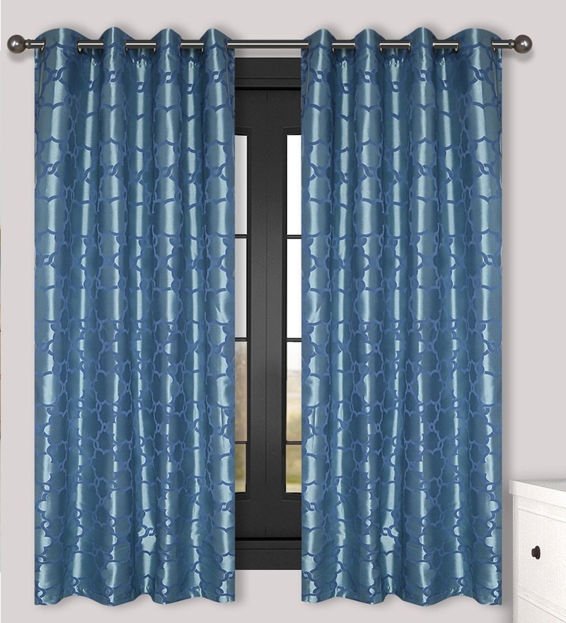Blue Polyester 60 x 54 Inch Window Curtain - Set of 2 by S9home by Seasons