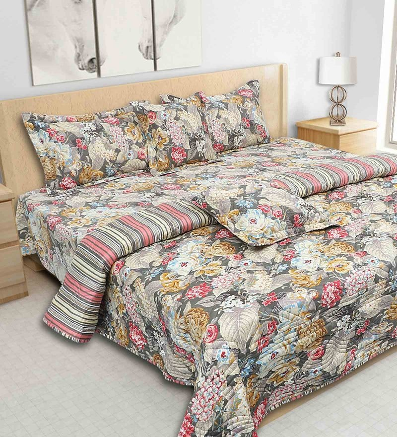 Coal 100% Cotton 108 x 108 Inch Printed Bedding Set by S9home by Seasons