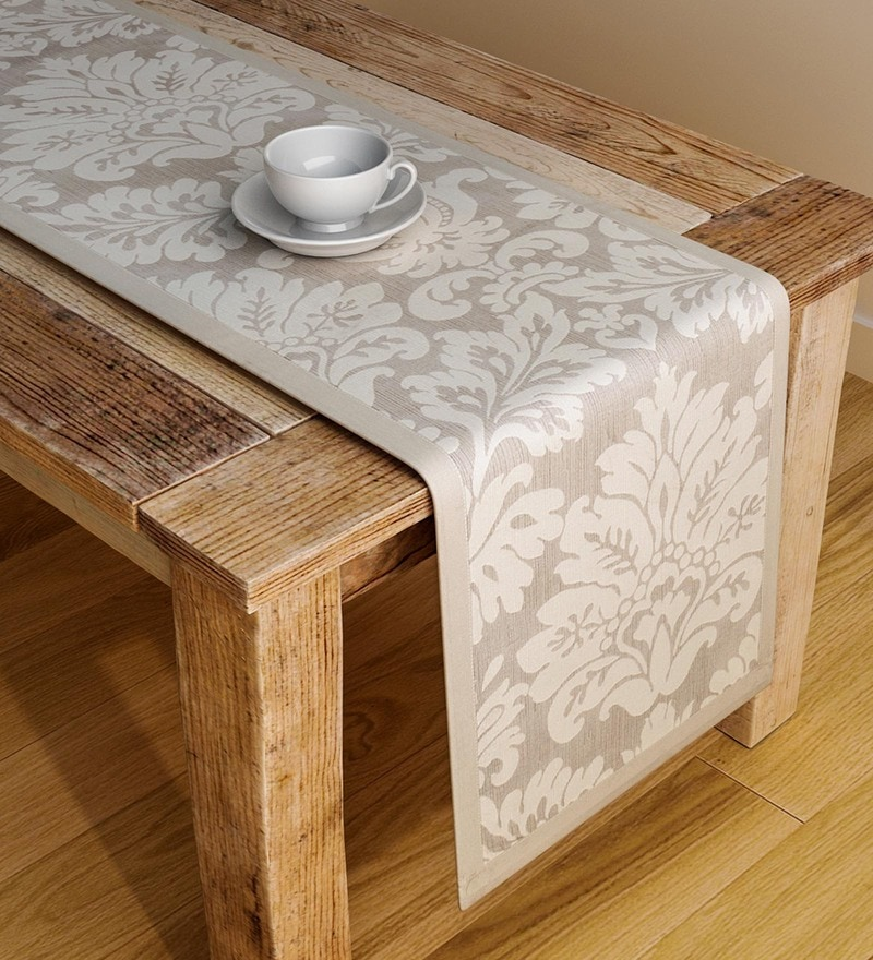 S9Home by Seasons Damask Cream Polyester Table Runner