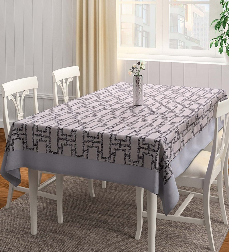 S9Home by Seasons Geometrical Matching Border Black & Grey Polyester Table Cloth
