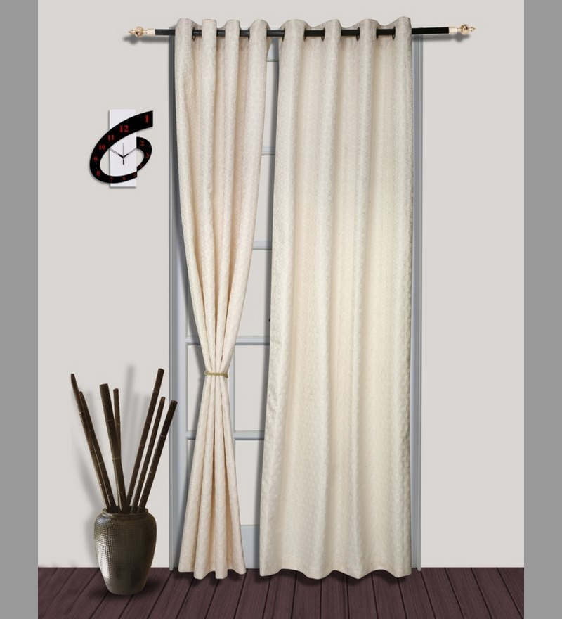 Glorious White Long Door Curtain (Set of 2) by S9home by Seasons