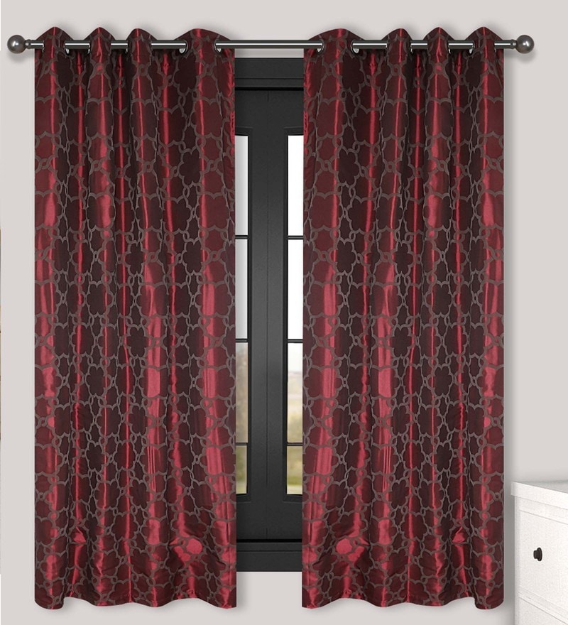 Wine Polyester 60 x 54 Inch Window Curtain - Set of 2 by S9home by Seasons