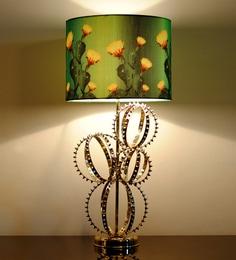Sahil Sarthak Designs Yellow And Green Canvas Table Lamp