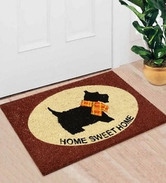 Saral Home White And Brown Coir 24 X 16 Inch Premium Quality Puppy Door Mat