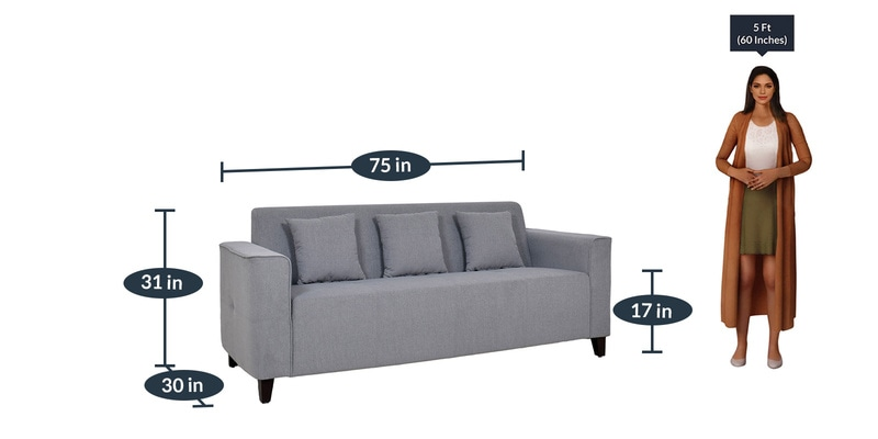 Buy Samuel 3 Seater Sofa In Ash Grey Colour By Woodsworth