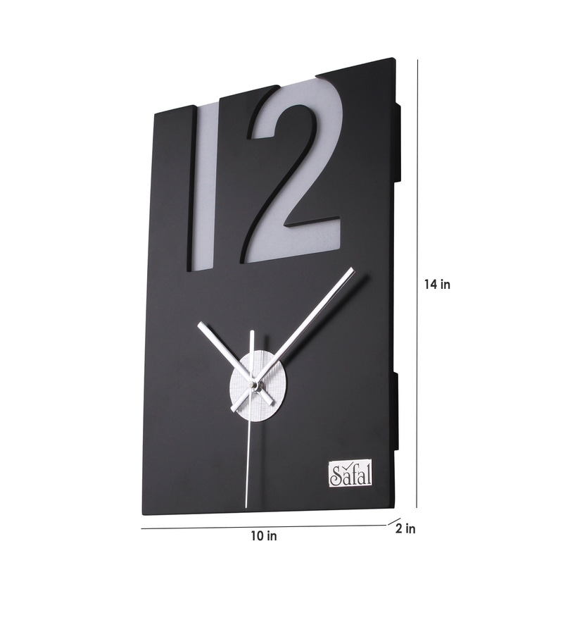 Buy Safal quartz Brown MDF 10 x 2 x 14 Inch Wall Clock Online