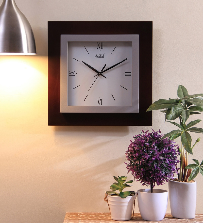 Brown MDF 13.5 x 2 x 13.5 Inch Frame with Square Back Roman Figured Beauty Wall Clock by Safal Quartz
