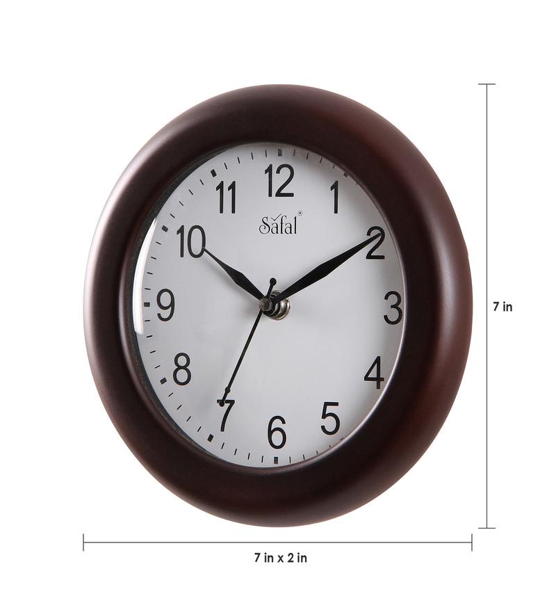 Buy Brown Mdf 7 Inch Wall Clock By Safal Quartz Online