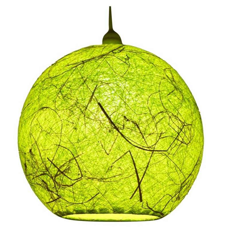 Green Yarn with Banana Fiber Hanging Lamp Shade by Salebrations