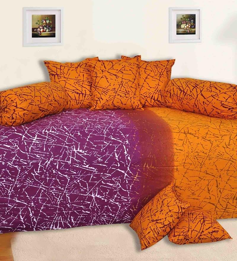 Orange & Pink Cotton Diwan Set - Set of 8 by Salona Bichona