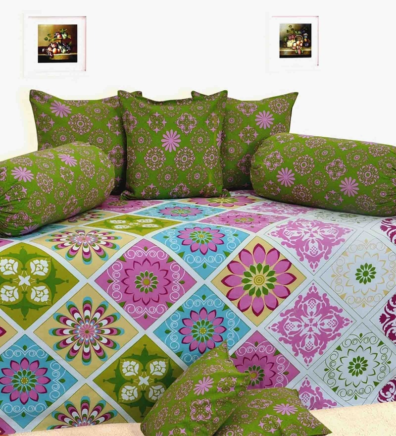 Green Cotton Diwan Set - Set of 8 by Salona Bichona