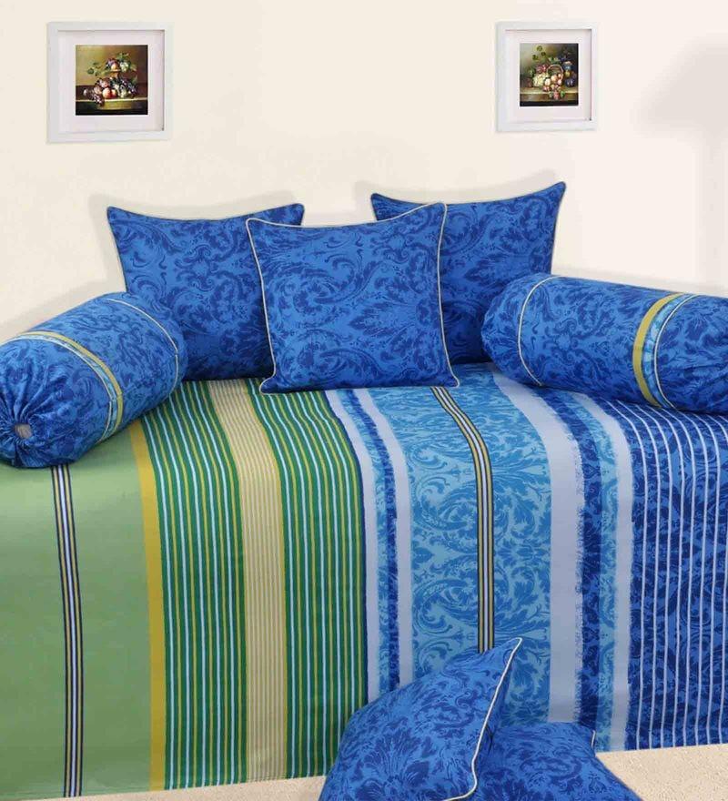 Blue Satin Diwan Set - Set of 6 by Salona Bichona