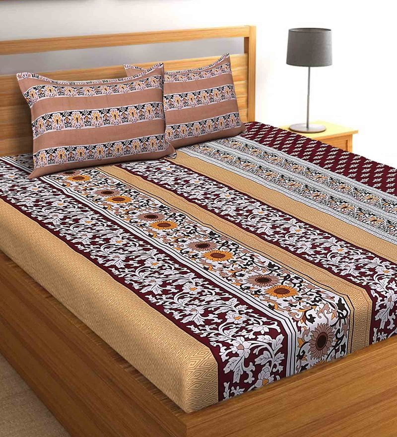 Salona Bichona Maroon 100 % Cotton 108 x 108 Inch King Bedsheet with Two Pillow Cover