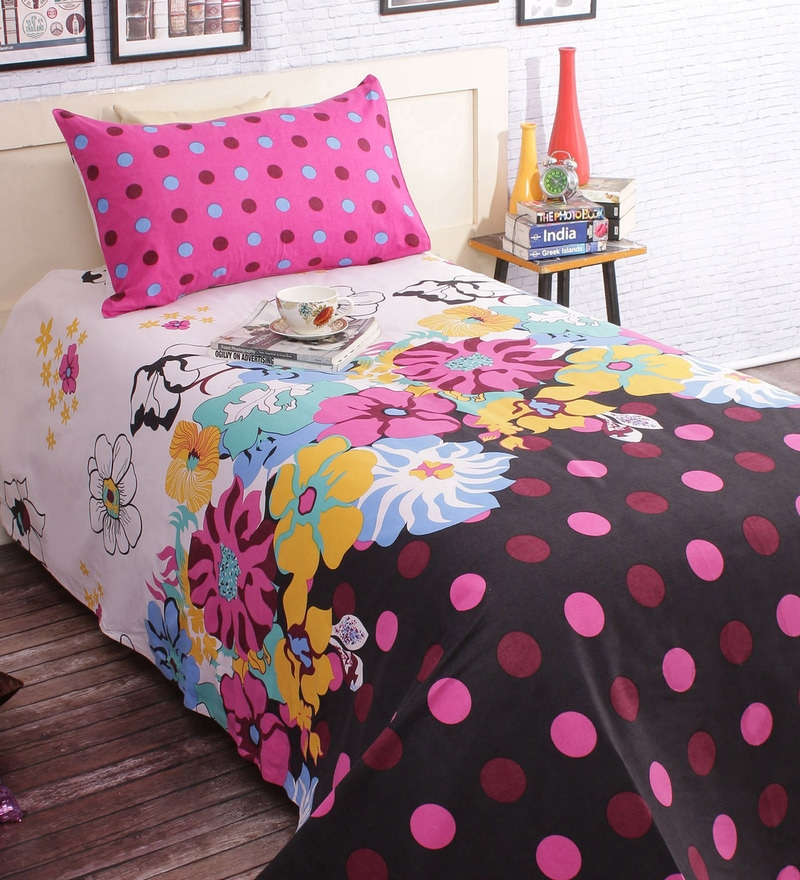Multicolored Cotton 86 x 60 Inch Bed Sheet (with Single Pillow Cover) by Salona Bichona