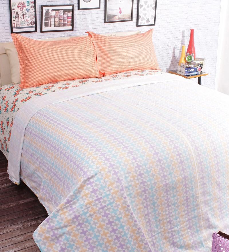 Multicolour 100% Cotton Queen Size Blanket by Salona Bichona