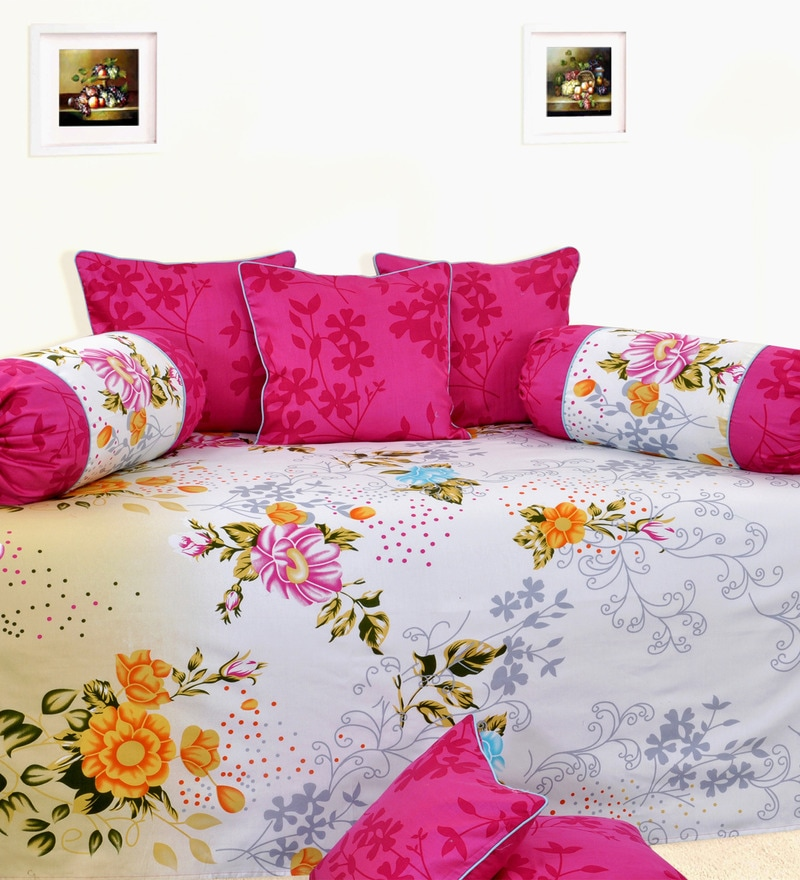 Yellow Cotton Floral Diwan Set - Set of 6 by Salona Bichona