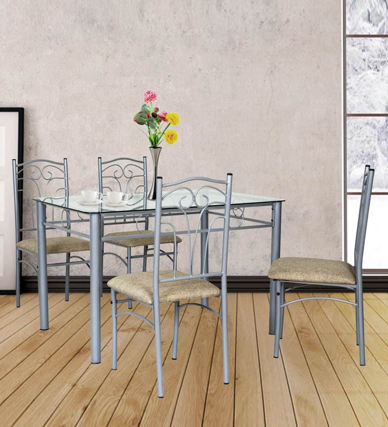 San Diego Four Seater Dining Set With Glass Top By FurnitureKraft