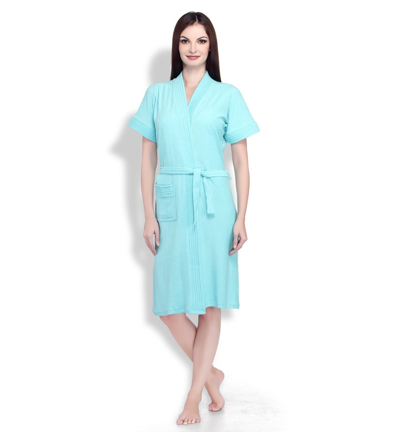Sky Blue Cotton Ladies Bathrobe by Sand Dune
