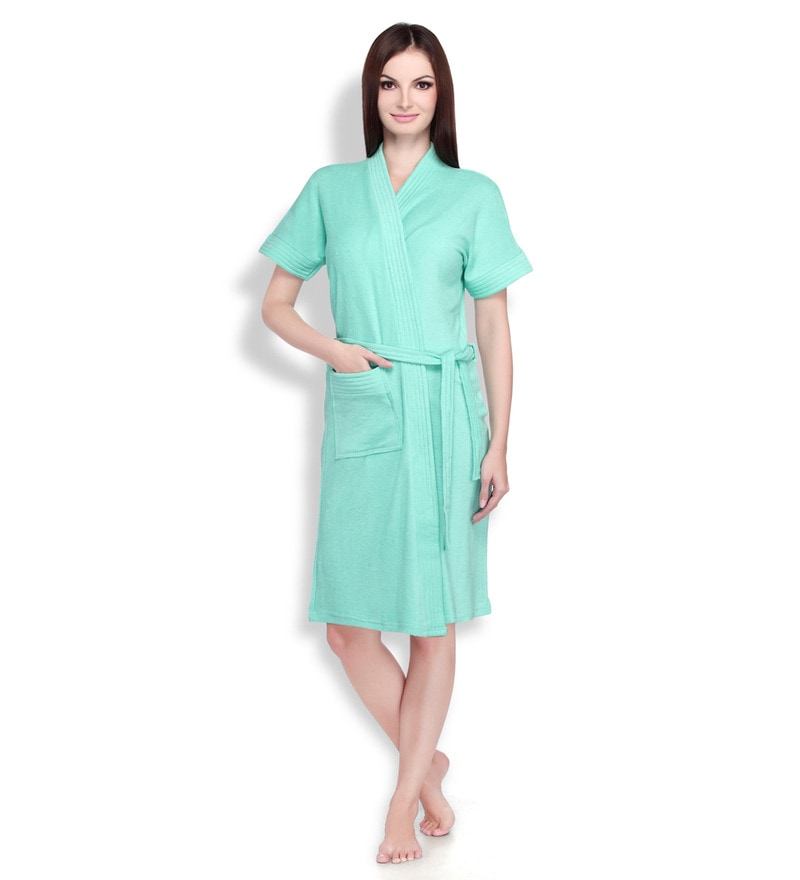 Sea Green Cotton Ladies Bathrobe by Sand Dune