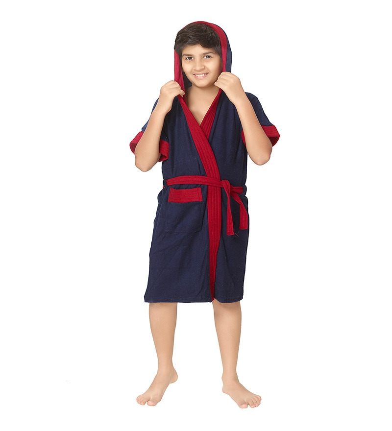 Navy Blue 12 Years Boys Bathrobe by Sand Dune