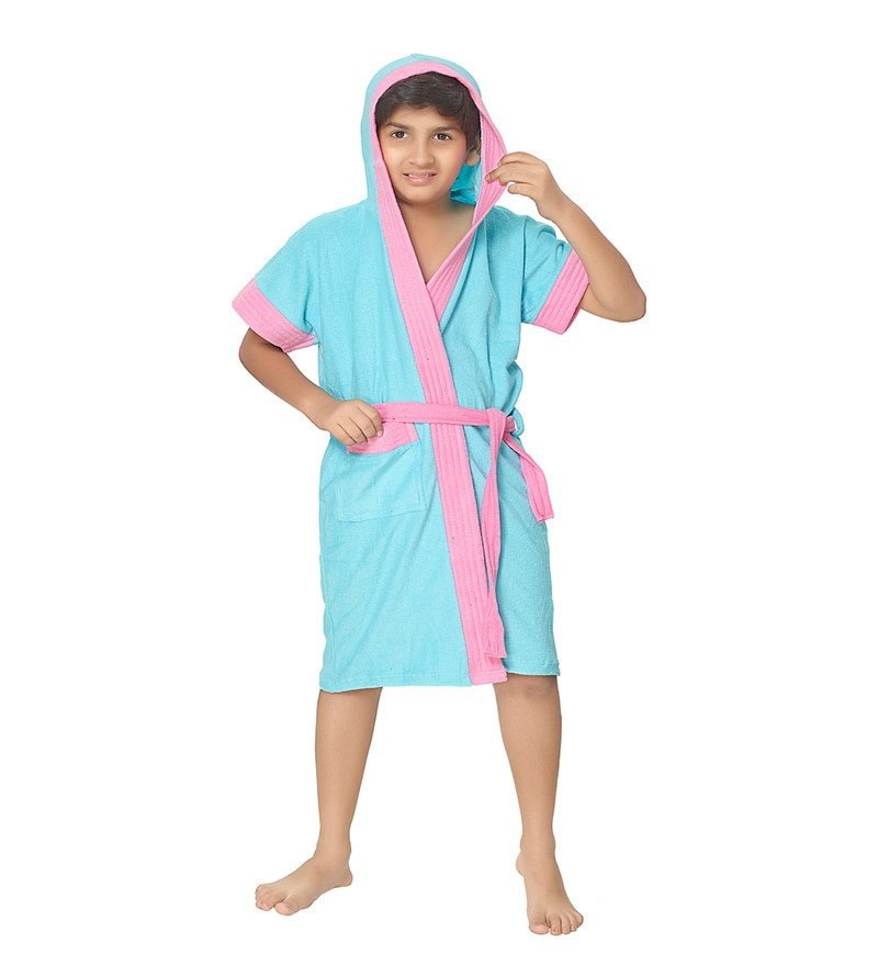 Sky Blue 06 Years Boys Bathrobe by Sand Dune