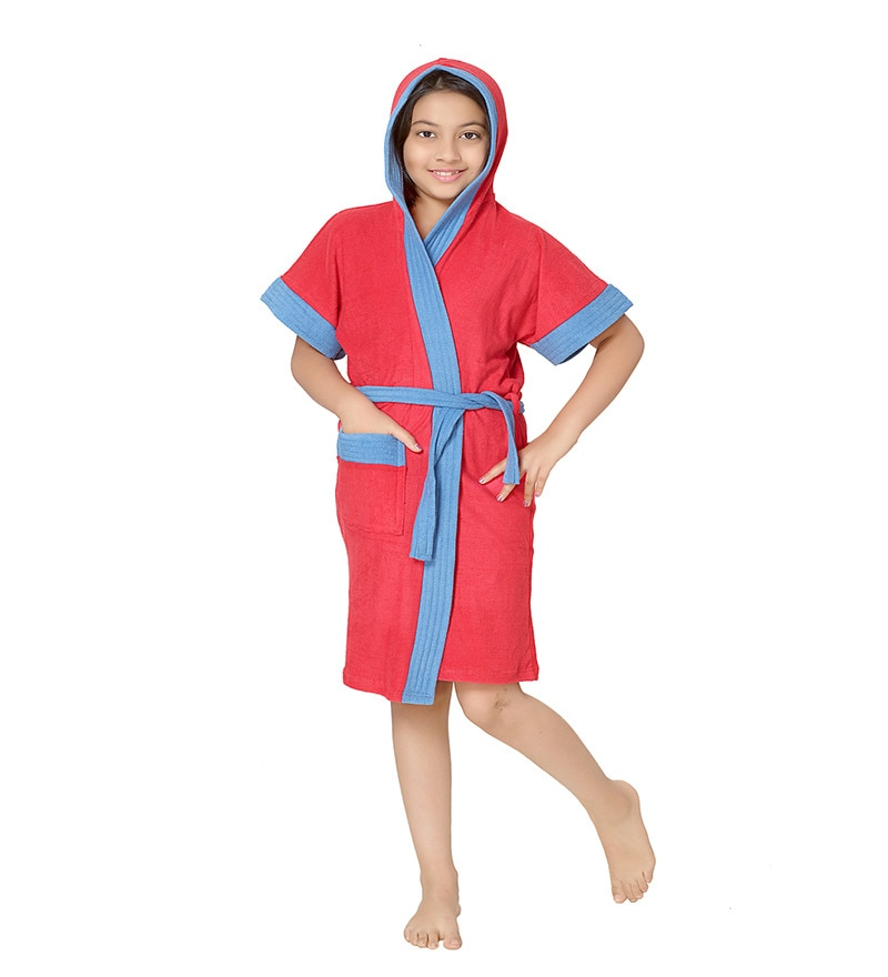 Robe Red Terry Cotton 22X26 INCH Kids Bath Robe by Sand Dune