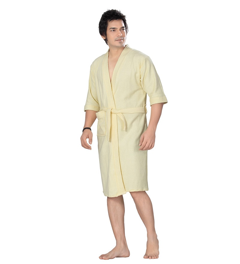 Off White Cotton Long Sleeves Gents Bathrobe by Sand Dune