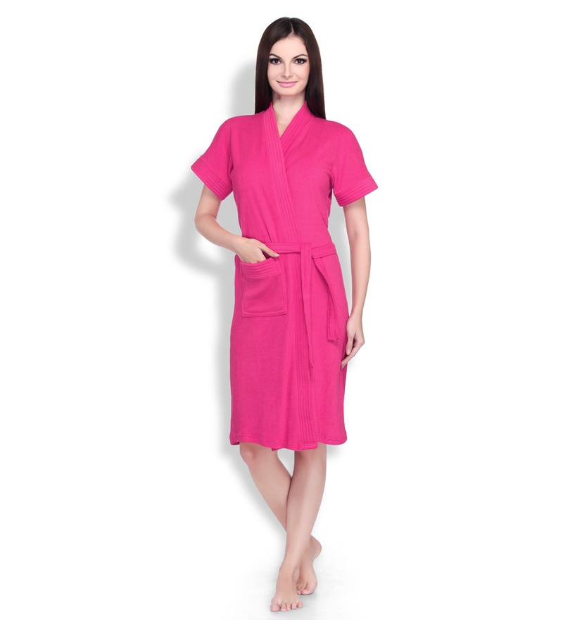 Plush Pink Cotton Ladies Bathrobe by Sand Dune
