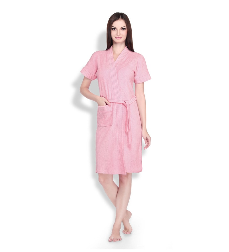 Pink Cotton Bath Robe by Sand Dune by Belle Maison