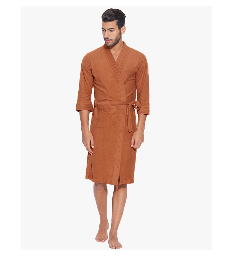 Rust Cotton Long Sleeves Gents Bathrobe by Sand Dune