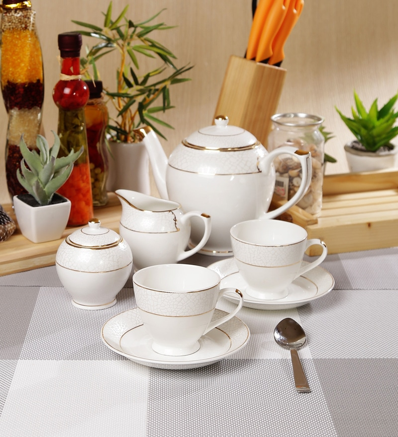 Sanjeev Kapoor Allure Collection Bone China Tea Set - Set of 15